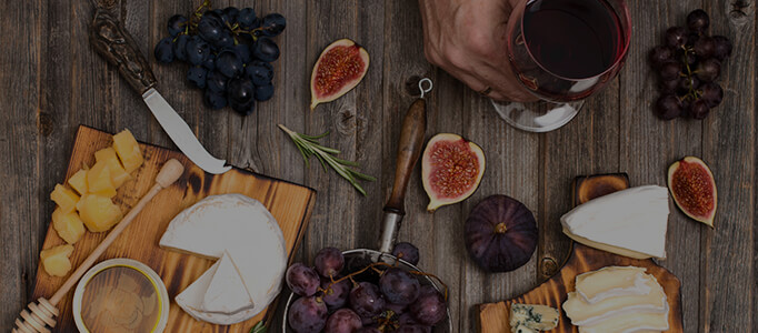 creekside red wine with charcuterie