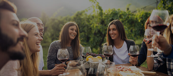 friends enjoying wine together in the vineyard