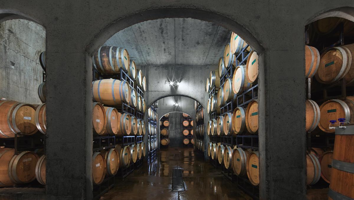 creekside estates winery cellar with barrels
